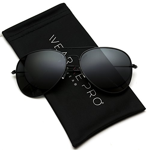 WearMe Pro - Polarized Metal Frame Pilot Style Aviator Sunglasses (Spring Hinge: Full Black, 60) (Sunglasses Metal Pilot)