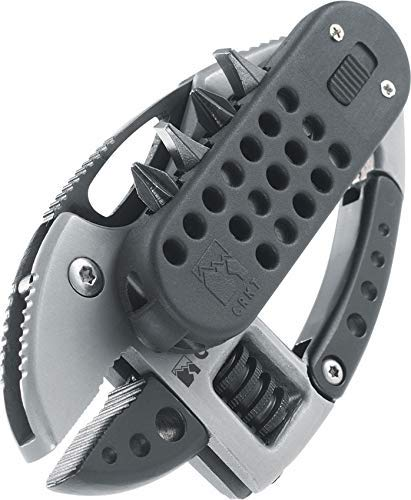 CRKT Guppie Multitool: Slip Joint Adjustable Wrench, Black Knife Blade, Removable Bit Driver with LED Light, Carabiner, Bottle Opener, Pocket Clip 9070 ()