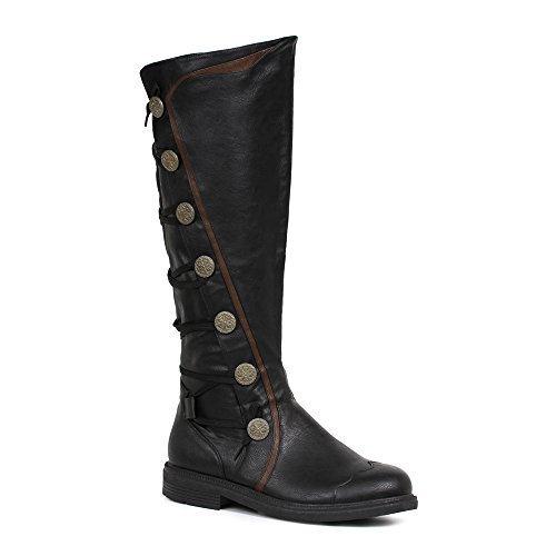 Ellie Shoes Mens Fresco Black Knee High Period Boots Size Medium (Mens Knee High Boots Shoes)