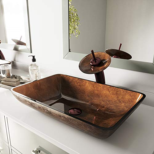 - VIGO Rectangular Russet Glass Vessel Bathroom Sink and Waterfall Faucet with Pop Up, Oil Rubbed Bronze