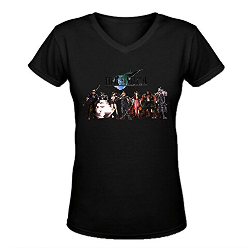 Qirong Final Fantasy VII Game V Neck T Shirt for Womens