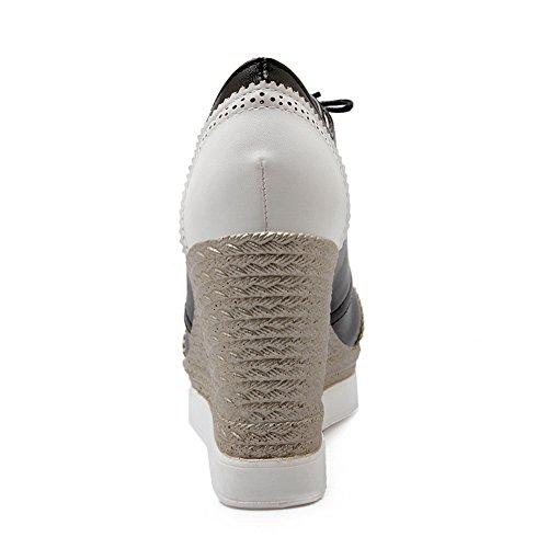Balamasa Ragazze Abbinabili Con Tacco Fondo In Tinta Treccia Scolpito Fiore Scarpe In Pelle Imitato-scarpe Bianche