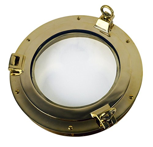 Nautical Tropical Imports Heavy Porthole Window Heavy Solid Brass 1.75 Inch Flange - Hull Mirrors Bathroom
