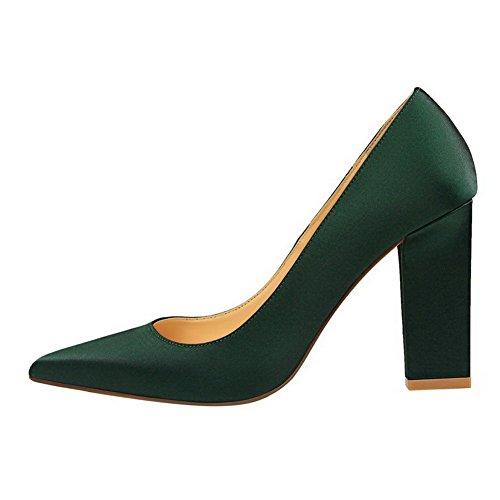 Femme Unie Chaussures AllhqFashion Légeres Vert Pointu Couleur Mélangee Matière Foncé dFFx1qA