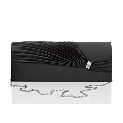 Black prom evening clutch strap ladies bags diamante flap handbags chain detachable wedding ruched Womens qfPOxEP