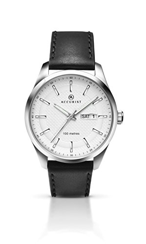 Accurist Gents Analogue Watch With White Dial And Black Leather Strap 7135