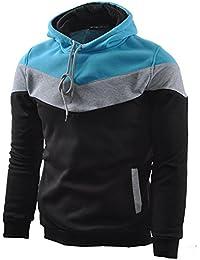 Mens Novelty Color Block Hoodies Cozy Sport Outwear