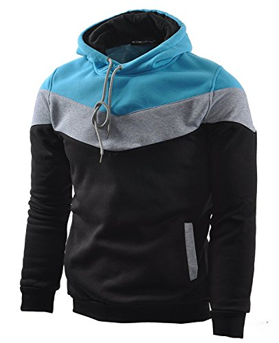 Mooncolour Men's Novelty Color Block Hoodies Cozy Sport Autumn Outwear Black/Grey/Blue M...