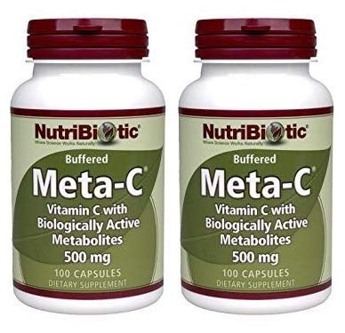 Nutribiotic Meta-C (Pack of 2) with Vitamin C, Calcium, Biologically Active Metabolites and Spirulina, 500mg, 100 Count Each