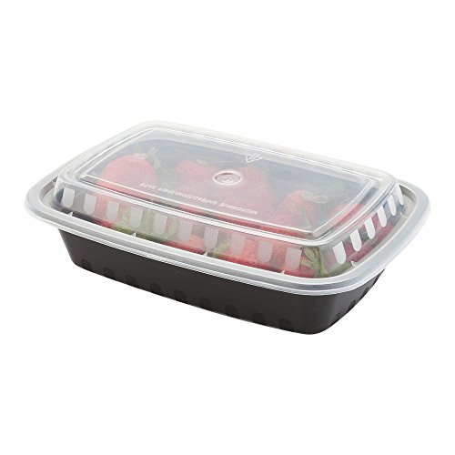 24-OZ Asporto Microwavable To-Go Container - PP Black Rectangular Food Container with Clear Plastic Lid: Perfect for Catering Events and Restaurant Takeout – Disposable and Eco-Friendly – 100-CT by Restaurantware (Image #3)'