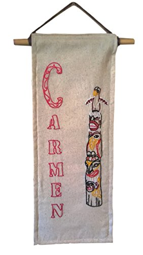 Needlework Totem Pole With Personalized Name, Home Decor Wall Hanging, Specialized House Warming Gift, Family Crest. - Crest Tapestry
