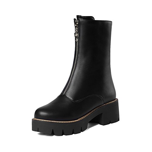 Women's Solid Artificial Cow Leather Kitten-Heels Zipper Round Closed Toe Boots