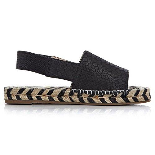 AllhqFashion Mujeres Mini Tacón Sintético Sólido Cordón elástico Puntera Abierta Sandalia Negro