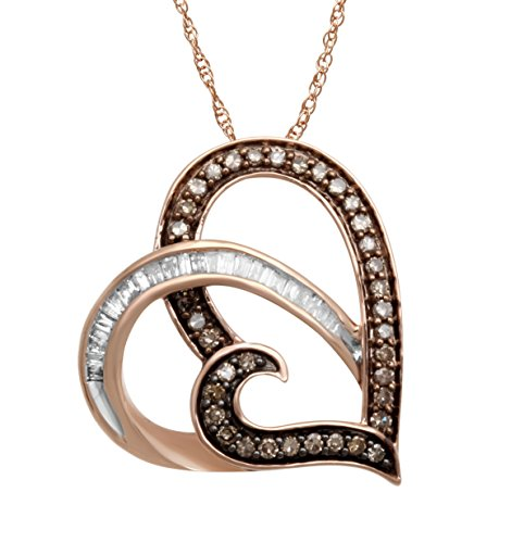 Pink Champagne Diamonds (Jewelili 10K Pink Gold Champagne and White Diamond Heart Pendant Necklace,1/3cttw. 18