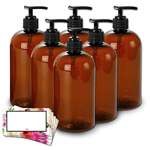 BAIRE BOTTLES -16 OZ BROWN AMBER PLASTIC REFILLABLE BOTTLES with BLACK PUMPS - ORGANIZE Soap, Shampoo and Lotion with a Clean, Classy Look - PET, Lightweight, BPA Free - 6 Pack, BONUS 6 FLORAL LABELS