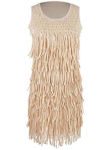 Anna-Kaci S/M Fit Beige Flapper Fun Girl Style Tiered Fringe Trim Beaded Dress