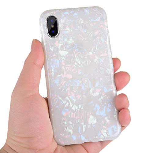 (iPhone X Case,iPhone Xs Case for Girls Women,Manleno iPhone X Cover Case Luxury Design Flexible Bling Colorful Pearly Lustre TPU Silicone Case for Apple iPhone X Xs 5.8
