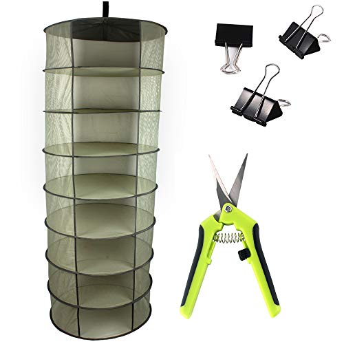 Casolly Herb Drying Rack 2-Ft 8-Layer with Free Scissors and