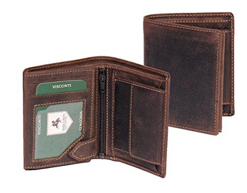 Herren Leder Brieftasche Bifold Münze Tasche Karte Sektion Vienna Öl Braun