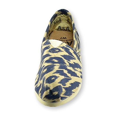 A & A Women Blue Slip-on Casual Flats Canvas Shoes Alpargatas (ikat)