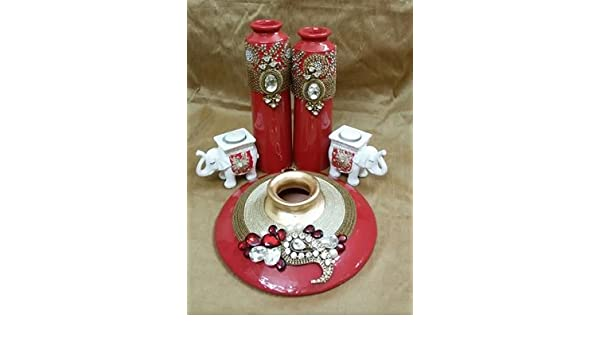 Decorativa jarrón botellas velas Set, piedra, Rojo, Vase - 12 (daimeter) X 3.5 (Height) ; Bottles 3 (Diameter) X 11 (Height) & 13 (Height); Elephants - 3.5 ...