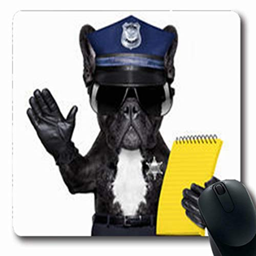 Pandarllin Mousepads Roadsign Police Dog On Duty Site Ticket Fine Wildlife Sports Recreation White Oblong Shape 7.9 x 9.5 Inches Oblong Gaming Mouse Pad Non-Slip Rubber Mat