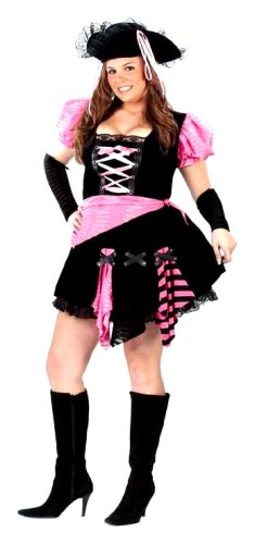 FunWorld Women's Womens Plus Pink Punk Pirate, Black, 16W-24W (Pink Punk Pirate)