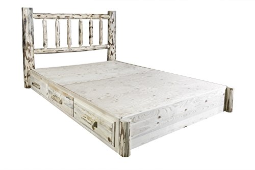 Montana Woodworks Montana Collection California King Platform Bed with Storage, Ready to Finish California King Unfinished Bed