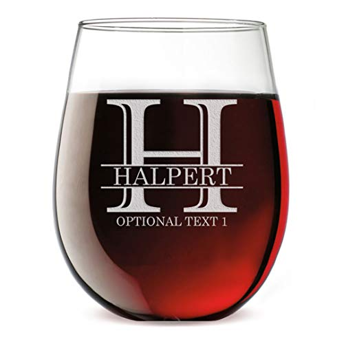 - Personalized Etched Monogram 17oz Stemless Wine Glass