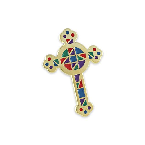 Religious Pins (Stained Glass Window And Cross Religious Enamel Lapel Pins (Stained Glass Cross 1 Pin))