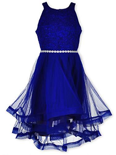 Speechless Girls' Big' 7-16 Tween Sparkle Waist Party Dress with Wide Ribbon Hem, New Royal Blue, 10]()