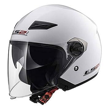 Casco Jet Moto LS2 of569 Track doble visera blanco brillante talla L