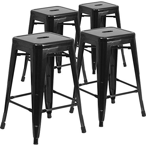 Metal Frame Backless Stools - IntimaTe WM Heart Metal Bar Stools 24 Inch Backless Bar Chairs Counter Stools Metal Stools Tolix Style Kitchen Stools Set of 4 -Black