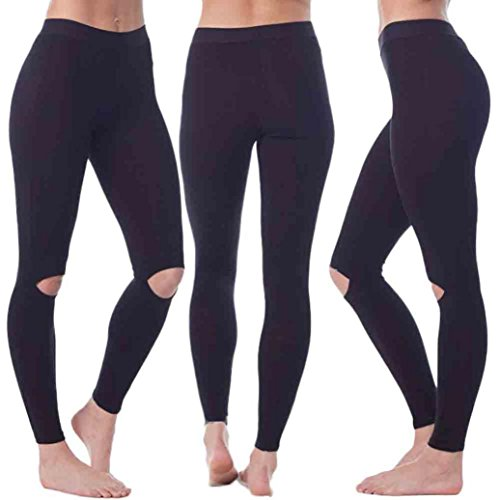 Nesee Women Middle Waist Sports Gym Yoga Workout Hollow Out Fitness Lounge Athletic Pants (S)