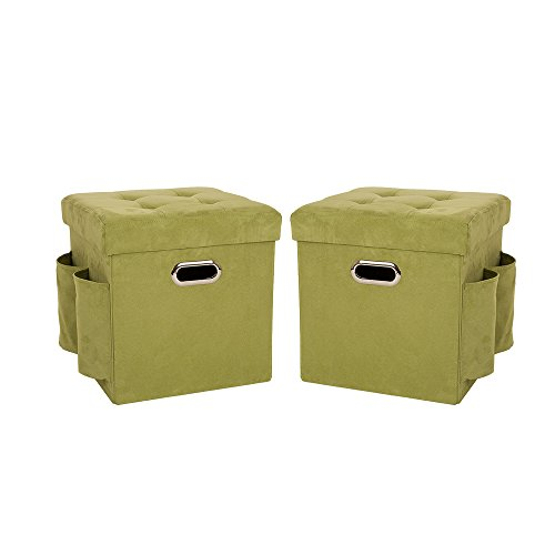 Glitzhome Foldable Faux Suede Storage Ottoman Cubes With Padded Seat Green, Set Of 2