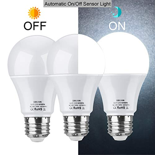 (Dusk to Dawn Light Bulb,E26 A19 Sensor Light Bulbs Auto On/Off 12W 1000Lm Daylight White 6000K for Indoor/Outdoor Security Yard Porch Patio Garage Garden,Pack of 3 )