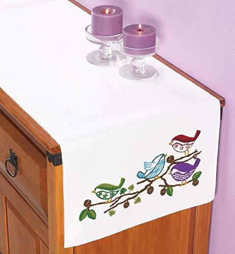 Herrschners® Birdies Dresser Scarf Stamped Embroidery