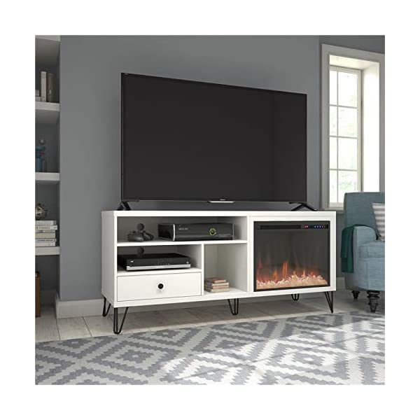 "Beaumont Lane Electric Fireplace Heater TV Stand Console up to 65"" in White"