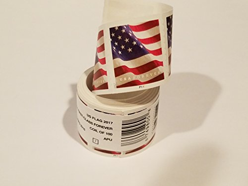 USPS Forever US Flag Postage Stamps, Roll of 100 (2017 or 2018 version)