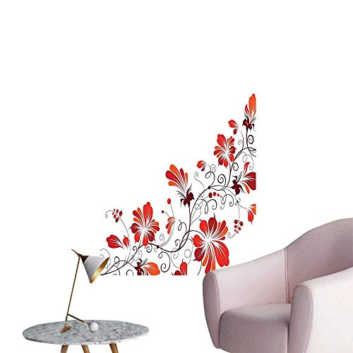 Wall Art Prints Chinese Purity Symbol Blooms with Curved Lace Branch and Leaves Red White for Living Room Ready to Stick on Wall,24