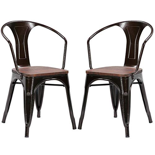 - Tolix Style Armchair Stackable Bistro Metal Wood Stool Furniture Copper Set of 2