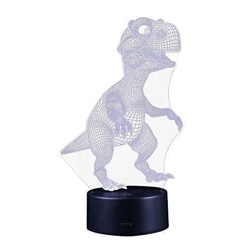 (Alimao 3D Children Night Lamp 7 LED Colors Changing Lighting Table Desk Decoration Black)