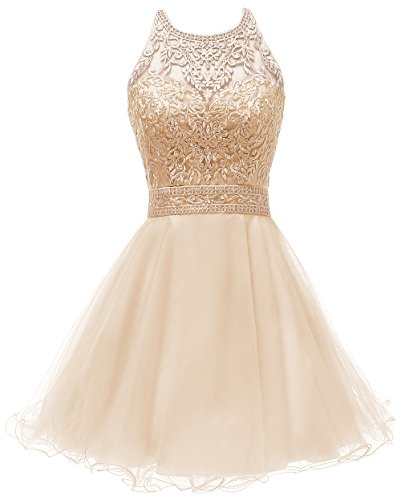 Jewel Neck Elegent Lace Beaded A-line Homecoming Dress Juniors Sweet Party Prom Dresses Champagne,Size - Beaded Jewel Neck
