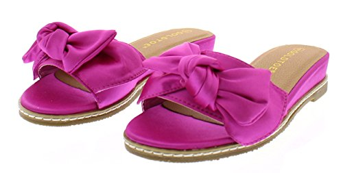 Arelle Womens Bow Sandals,Slip On Wedges for Women,Low Wedge Open Toe Sandal Platform Slides,Dress Shoes Fuchsia 8 US ()
