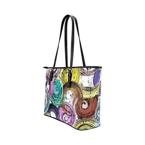 Resor crossbody väska konst kreativt mode rund graffiti läder handväskor väska orsaksala handväskor dragkedja axel organiserare för dam flickor kvinnor dam crossbody väska