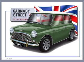 MINI Classic Car Print of YOUR Car with your Number Plate ClassicMotorPrints MINI1