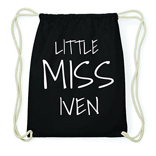 JOllify IVEN Hipster Turnbeutel Tasche Rucksack aus Baumwolle - Farbe: schwarz Design: Little Miss