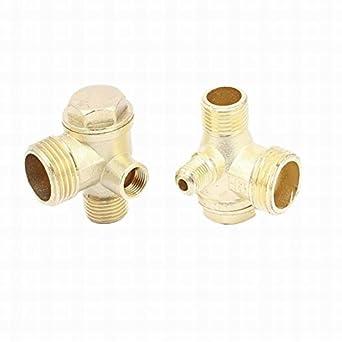 ucland latón de 3 Vías rosca macho compresor de aire Compruebe Válvulas Conectores 2pcs