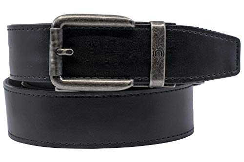 2019 Rogue EDC Black Leather Gun Belt for Men with High Strength Nylon Backing and Ratchet Buckle - Nexbelt Ratchet System Technology