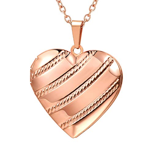 U7 Memorial Photo Locket Necklace Romantic Women Rose Gold Plated Stripe Heart Pendant for Her ()